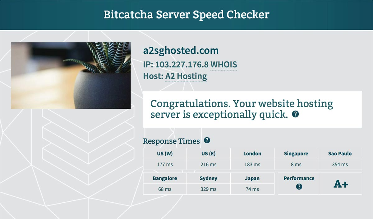 A2 Hosting server speed results